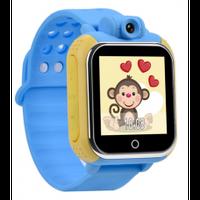 """Детские часы-телефон с GPS-трекером GW1000, цветн. сенс. экран 1.54"""", micro-SIM, позиц. GPS, LBS/Wi-Fi, виброзв., датч. снятия с руки, камера, голубые"""