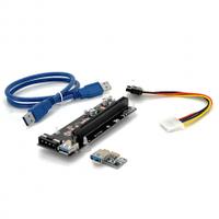 Riser PCI-EX, x1=>x16, 4-pin MOLEX, SATA=>4Pin, USB 3.0 AM-AM 0,6 м (синий) , конденсаторы PXJG, Пакет