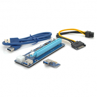 Riser PCI-EX, x1=>x16, 6-pin, SATA=>6Pin, USB 3.0 AM-AM 0,6 м (синий) , конденсаторы CS 220 16V, Пакет