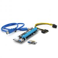 Riser PCI-EX, x1=>x16, 6-pin, SATA=>6Pin, USB 3.0 AM-AM 0,6 м (синий) , конденсаторы ULR, Пакет