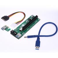 Riser PCI-EX, x1=>x16, 4-pin MOLEX, SATA=>4Pin, USB 3.0 AM-AM 0,6 м (синий) , конденсаторы EL1608, Пакет