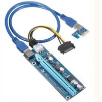 Riser PCI-EX, x1=>x16, 6-pin, SATA=>6Pin, USB 3.0 AM-AM 0,6 м (синий) , конденсаторы EL1608, Пакет