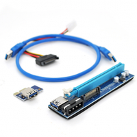 Riser PCI-EX, x1=>x16, 4-pin/Sata MOLEX, SATA=>4Pin, USB 3.0 AM-AM 0,6 м (черный) , конденсаторы UER, Пакет