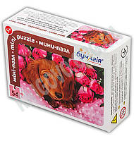 Мини-пазл 54 элемента Код: PZ-1601 Собачка в розах Изд: Бумагия