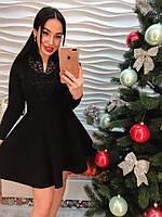 Любимая модель в наличии! Обворожительное, женское, трикотажное платье с юбкой-клеш и кружевом.