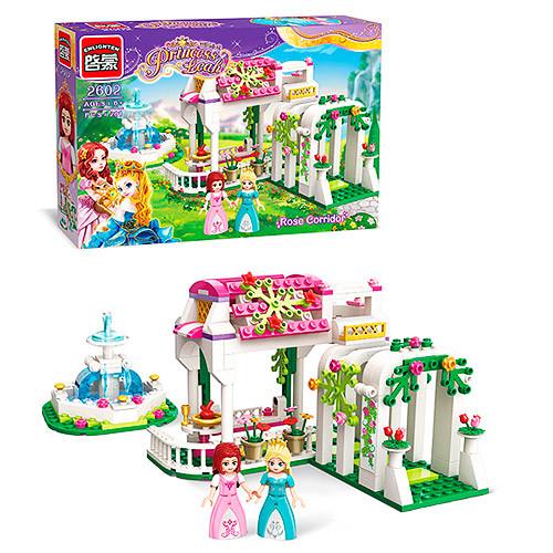Конструктор BRICK 2602 (18шт) розовая серия, сад, фонтан,  261дет, в кор-ке,32,5-22-6см