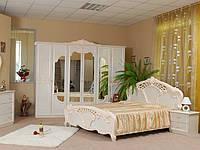 Ліжко з ДСП/МДФ в спальню беж Олімпія 1,6х2,0 з каркасом Миро-Марк