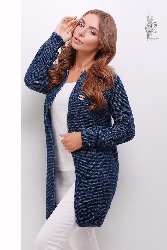 Синий меланж Красивой женской кофты кардигана Шанин