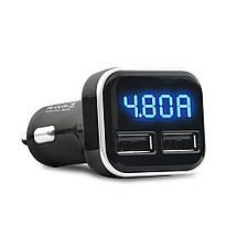 Автомобильное зарядное устройство Carprie 4.8A(24W) с LED дисплеем (Черное, два USB-порта), фото 2