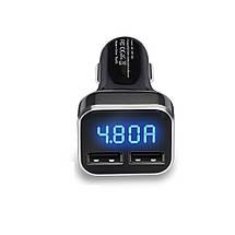 Автомобильное зарядное устройство Carprie 4.8A(24W) с LED дисплеем (Черное, два USB-порта), фото 3