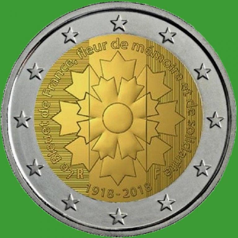 Франция 2 евро 2018 г. Василёк . UNC.