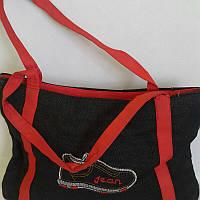 Джинсовая женская сумка с красными ручками  22х34 см