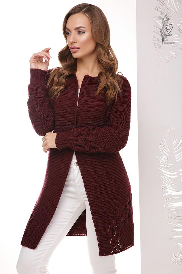 Цвет марсала Красивой женской кофты кардигана Чарис