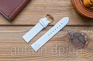 Шкіряний ремінець для годинника Лак art.3 колір білий. Розмір 20
