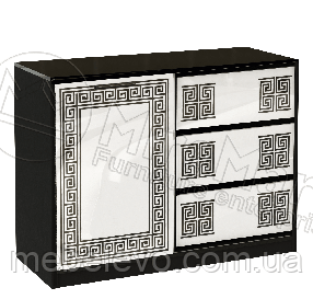Виола Комод 1Д 3Ш 860х1120х450мм белый глянец + черный мат   Миро-Марк