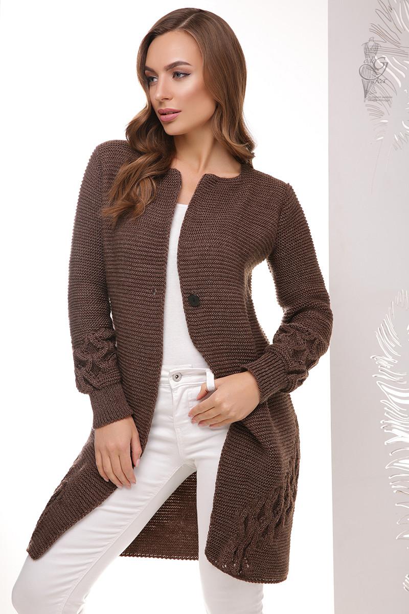 Красивая женская кофта кардиган Чарис-5 на пуговке с длинным рукавом