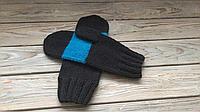 Мужские вязаные варежки,шерстяные варежки черны цвет,модные варежки,зимние варежки с полоской,вязаные варежки