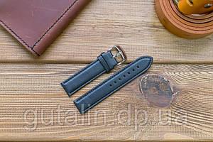 Шкіряний ремінець для годинника Гладкий art.4 колір чорний. Розмір 20