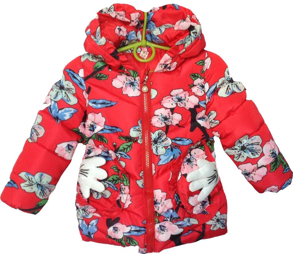 """Куртка детская демисезонная """"Flowers"""" #7-1 для девочек. 3-4-5-6 лет. Красная. Оптом."""