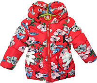 """Куртка детская демисезонная """"Flowers"""" #7-1 для девочек. 3-4-5-6 лет. Красная. Оптом., фото 1"""