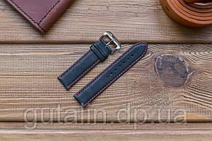 Шкіряний ремінець для годинника Гладкий art.4 колір чорний з червоною строчкою. Розмір 20