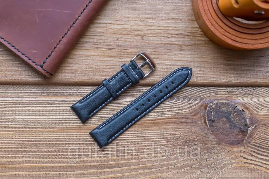 Кожаный ремешок для часов Гладкий art.4 цвет черный с белой прошивкой. Размер 20
