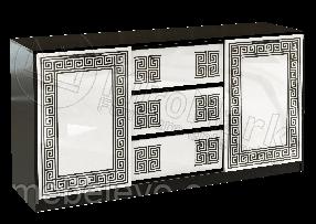 Виола Комод 2Д 3Ш 860х1640х450мм белый глянец + черный мат   Миро-Марк
