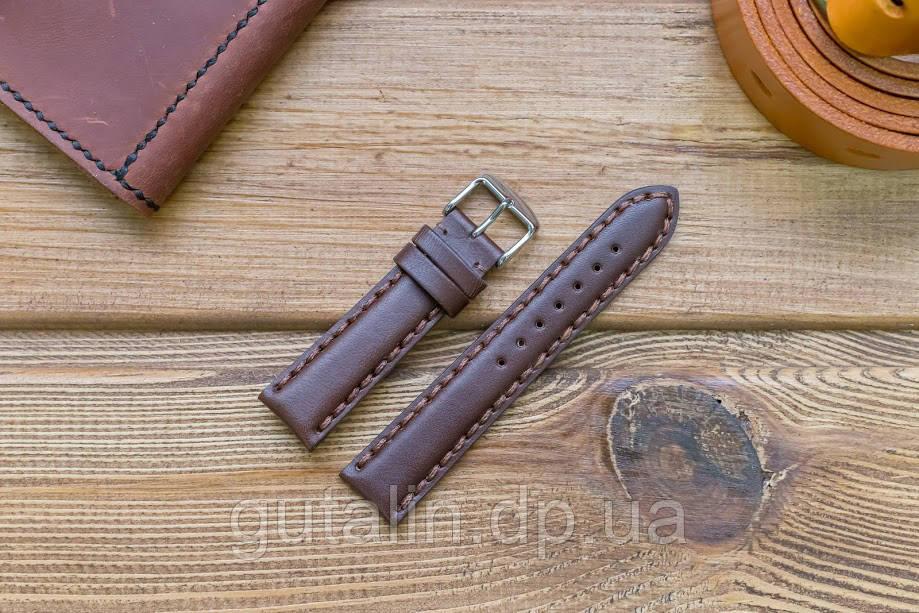 Кожаный ремешок для часов Гладкий art.4 цвет темно коричневый. Размер 20