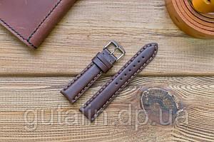 Шкіряний ремінець для годинника Гладкий art.4 колір темно коричневий. Розмір 20