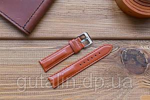 Шкіряний ремінець для годинника Гладкий art.4 рудий колір. Розмір 20