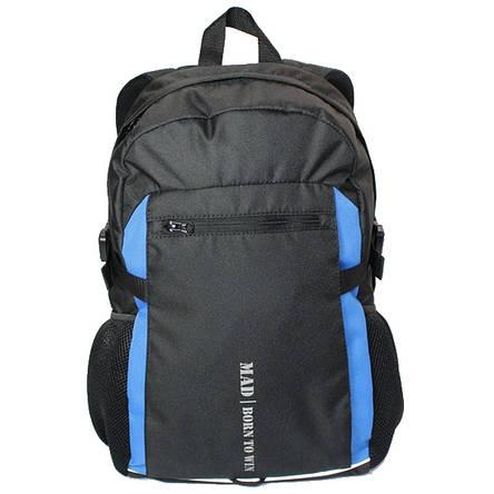 Городской рюкзак TAMIX MAD черный, синие вставки, фото 2