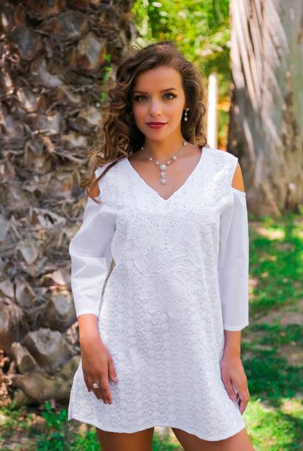 Туника женская белая летняя из хлопка Индиано, Fresh-cotton 371 F-1C