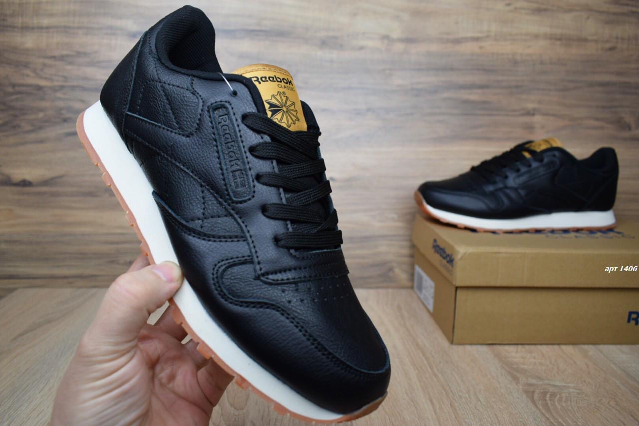 9c1d5d22f794 Мужские кроссовки Reebok Classic кожаные черные люкс копия  продажа ...