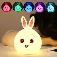 Детский 3D ночник Happy rabbit из силикагеля без проводов Аккумулятор 1200маH Милый кролик сертификат качества