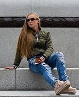 Куртка-бомбер жіноча, хакі. Меморі. 42-48р