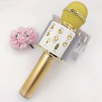 Караоке Микрофон Wster WS-858 золотой с USB, microSD, AUX, Bluetooth