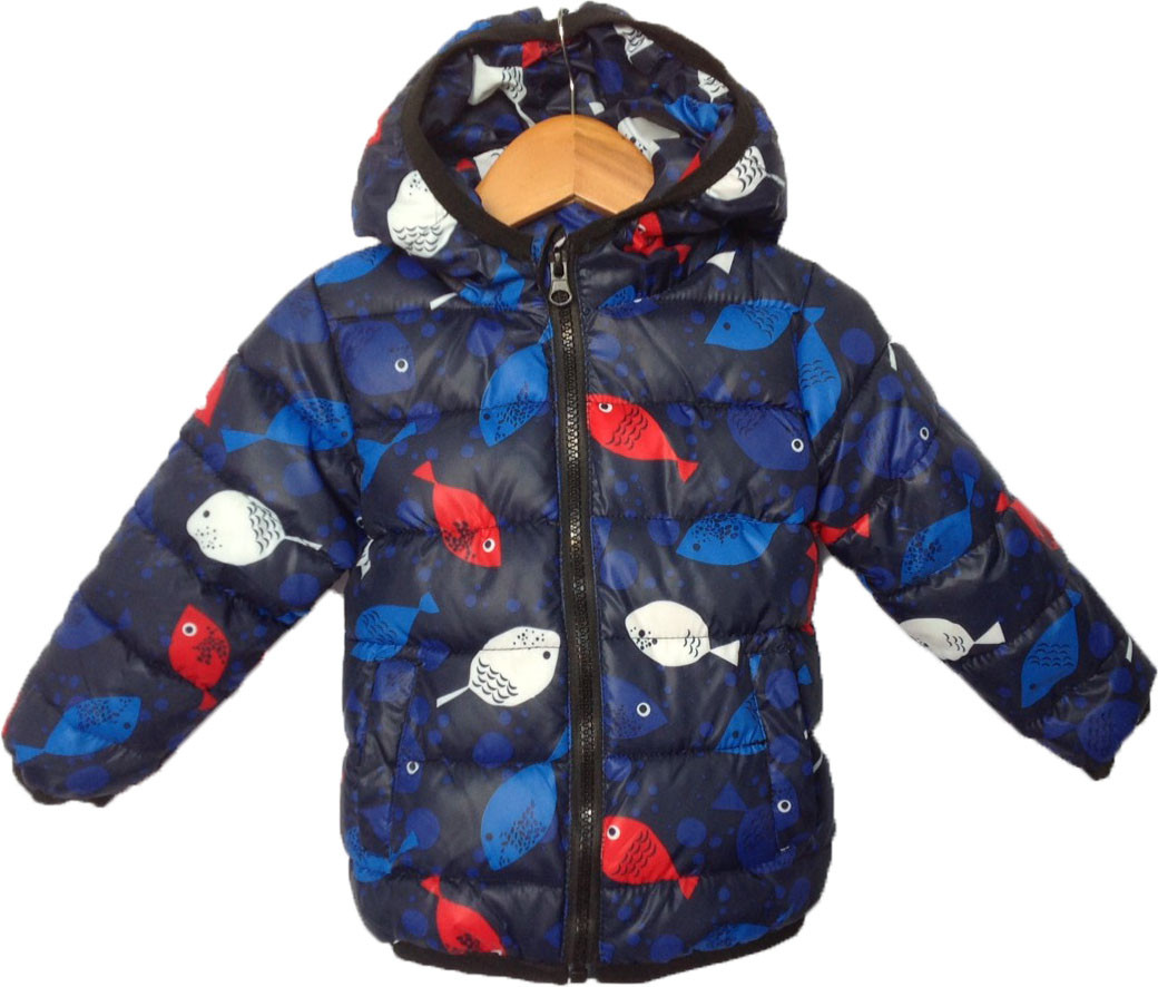 """Куртка детская демисезонная """"Рыбки"""" #12-2 для мальчиков. 1-2-3-4-5 лет. Синяя. Оптом."""