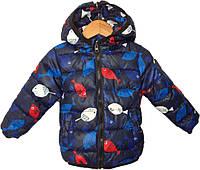 """Куртка детская демисезонная """"Рыбки"""" #12-2 для мальчиков. 1-2-3-4-5 лет. Синяя. Оптом., фото 1"""