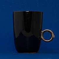 Кружка Кольцо с бриллиантом (черная, с серебряным кольцом)