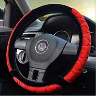 Оплетка на руль. Чехол красный   наружный диаметр 39-40 см