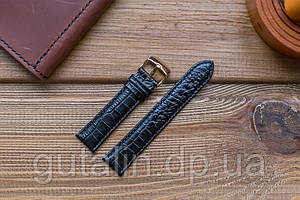 Шкіряний ремінець для годинника Текстурний art.5 колір чорний глянець. Розмір 20