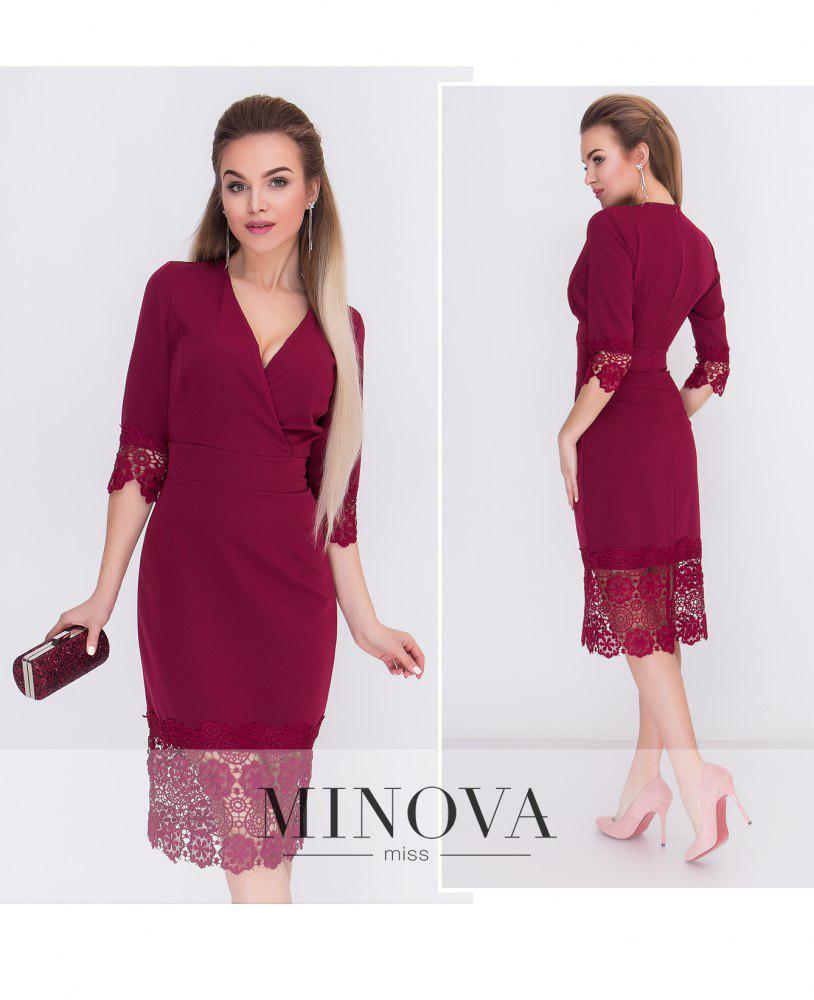 6f99f7dfd99 Утонченное платье-футляр с вырезом на запах и широким кружевом на подоле от  Minova р.42