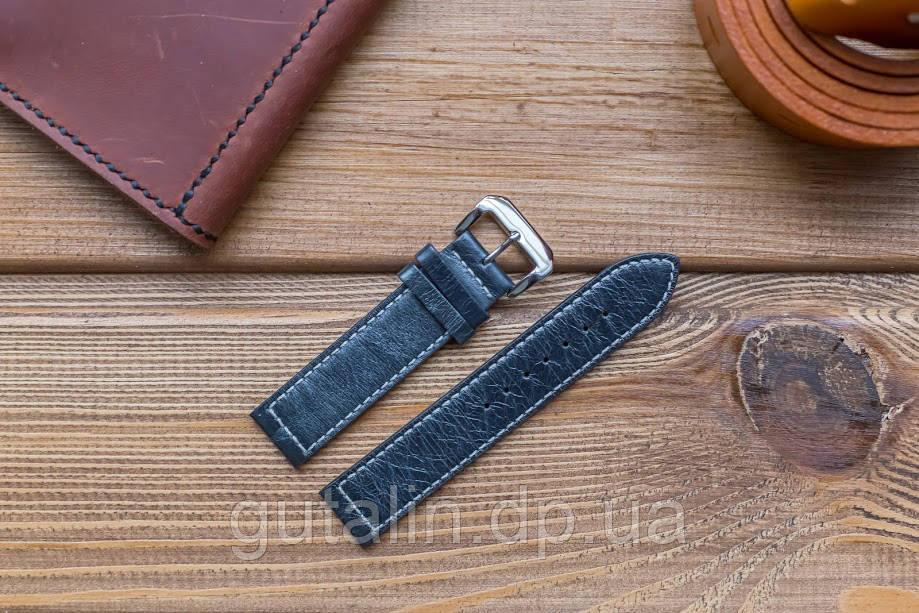 Кожаный ремешок для часов Текстурный art.5 цвет маренго. Размер 20