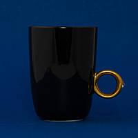 Кружка Кольцо с бриллиантом (черная, с золотым кольцом)