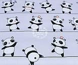 "Лоскут ткани №1234а  ""Панды на линиях"" на сером фоне, размер 24*132 см, фото 2"