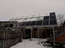 Навес из черного металла для солнечных панелей