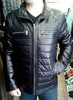 Куртка кожаная, натуральная, на молнии, 2 дополнительных нагрудных кармана, черная, фото 1