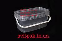 Пластиковое ведро пищевое 3 л прямоугольное с пластиковой ручкой и крышкой