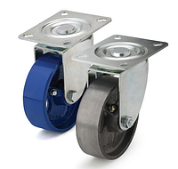 Колеса термостойкие из чугуна диаметр 80 мм с поворотным кронштейном. Серия 72