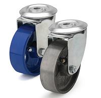 Колеса термостойкие из чугуна диаметр 100 мм с поворотным кронштейном с отверстием. Серия 72
